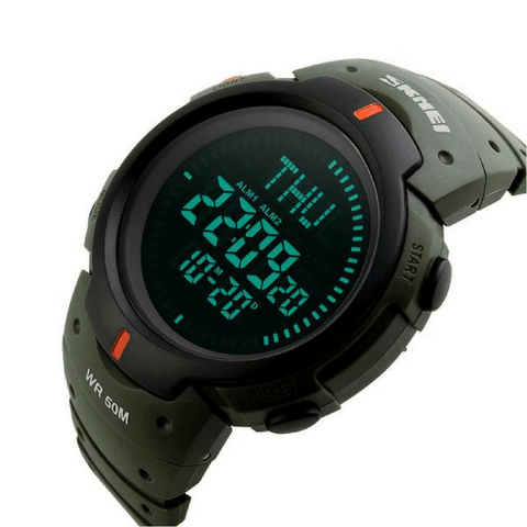 Skmei Skmei Professional Watch Store Army Green Waterproof Outdoor Digital LED Compass Watch