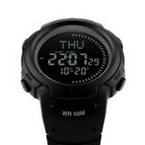 Skmei Skmei Professional Watch Store Carbon Black Waterproof Outdoor Digital LED Compass Watch