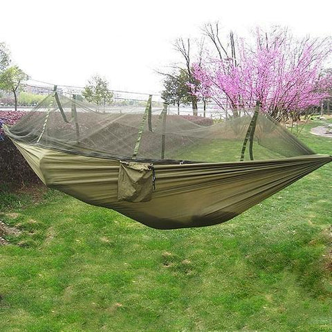 Time Fly! Army Brown Ingenious Portable Hammock with Mosquito Net