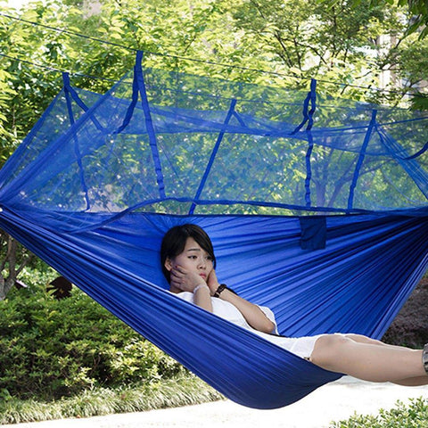 Time Fly! Blue Ingenious Portable Hammock with Mosquito Net