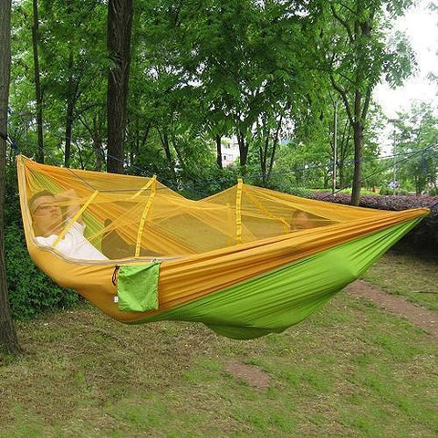 Time Fly! Orange Ingenious Portable Hammock with Mosquito Net