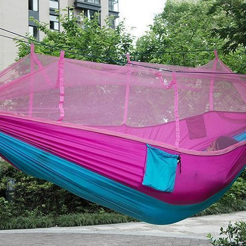 Time Fly! Pink & Blue Ingenious Portable Hammock with Mosquito Net
