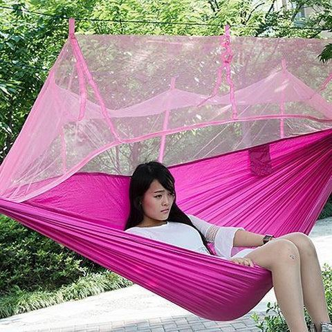Time Fly! Pink Ingenious Portable Hammock with Mosquito Net
