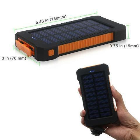 ZeroTeck Store 20000MAH WATERPROOF SOLAR CHARGING POWER BANK + FLASHLIGHT & COMPASS