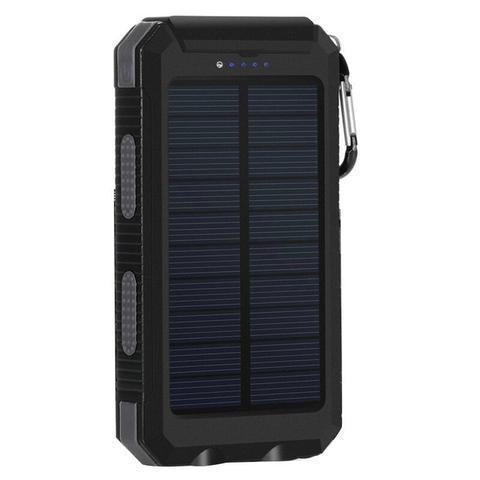 ZeroTeck Store Black 20000MAH WATERPROOF SOLAR CHARGING POWER BANK + FLASHLIGHT & COMPASS