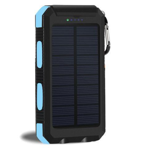 ZeroTeck Store Blue 20000MAH WATERPROOF SOLAR CHARGING POWER BANK + FLASHLIGHT & COMPASS