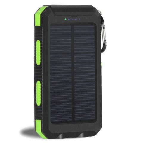 ZeroTeck Store Green 20000MAH WATERPROOF SOLAR CHARGING POWER BANK + FLASHLIGHT & COMPASS