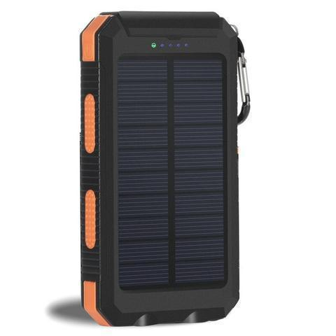 ZeroTeck Store Orange 20000MAH WATERPROOF SOLAR CHARGING POWER BANK + FLASHLIGHT & COMPASS