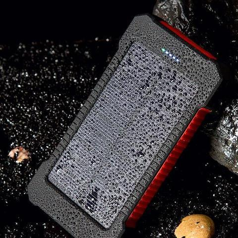 ZeroTeck Store Red 20000MAH WATERPROOF SOLAR CHARGING POWER BANK + FLASHLIGHT & COMPASS