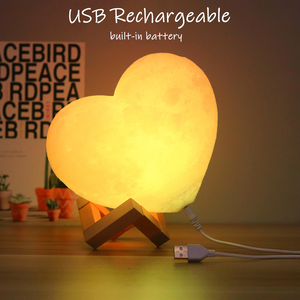 "Personalized Custom 3D Heart Moon Lamp ""Love You To The Moon"""