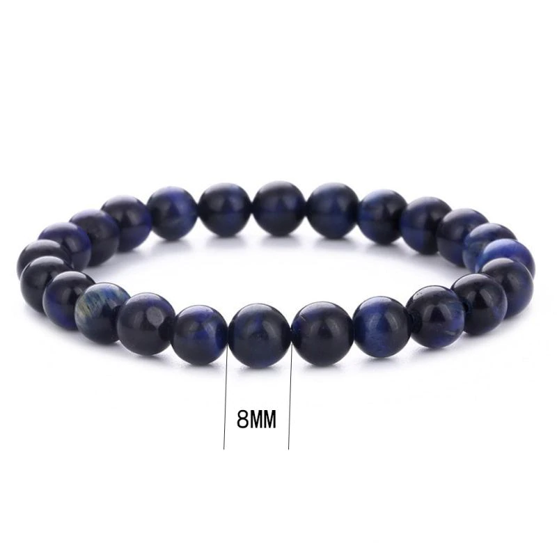 Blue Tigers Eye Bracelet for Stress Relief & Wealth Attraction (4 sizes)
