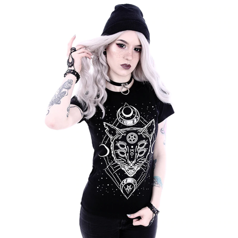 Black Cat Pentagram Universe Moon T-Shirt