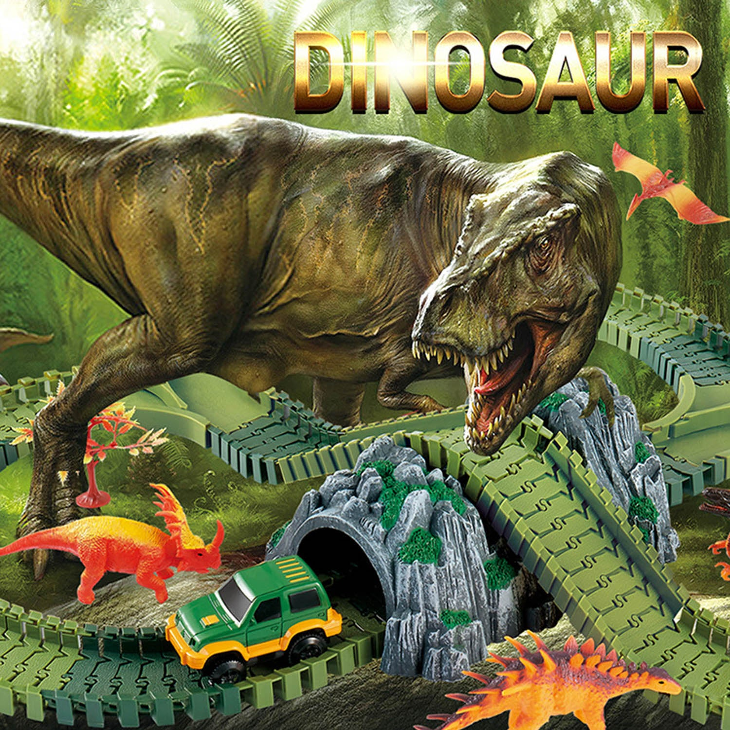 Dinosaur Race Car Flexible Track Set Diy Rc Jurassic Park Jeep Truck Dan S Collectibles And More