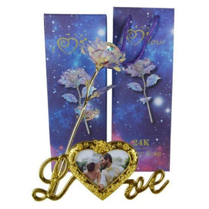 "24k ""Galaxy"" Gold Rose ""Love You For Life"" With Heart Picture Frame Stand"