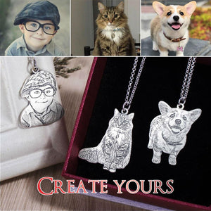 Family Photo or Pet Memorial Custom Laser Cut Photo Necklace (925 Sterling Silver)