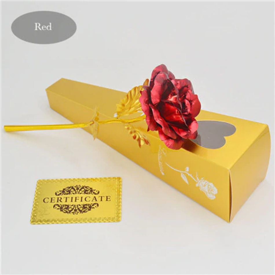 "24k Gold Rose ""Love You For Life"" Custom Laser Engraved Text"