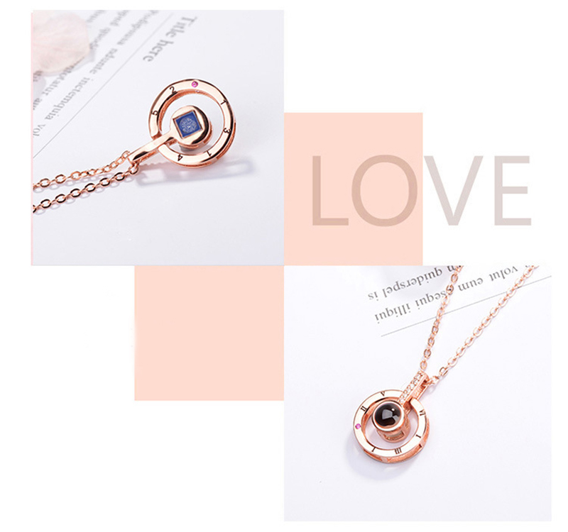 """I Love You"" Forever 100 Language Micro Projection Necklace"
