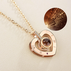 """I Love You"" Forever (Heart) 100 Language Micro Projection Necklace"