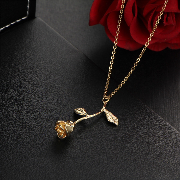 Single Stem Forever Rose Necklace