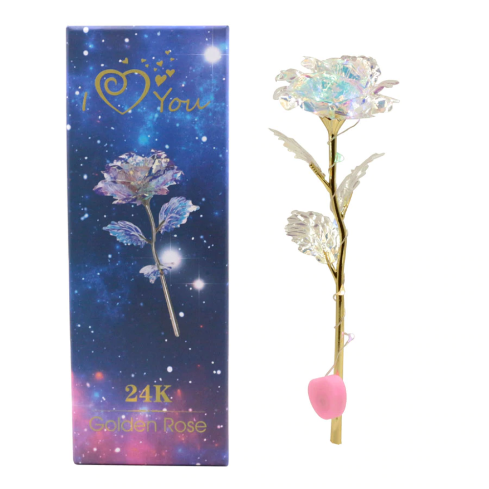 "Shimmering Glitter 24k ""Galaxy"" Gold Rose ""Love You For Life"" Love Optional Display Stand"
