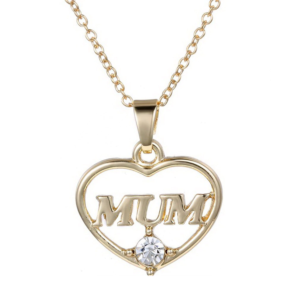 Mum Mother's Day Crystal Heart Pendant Necklace