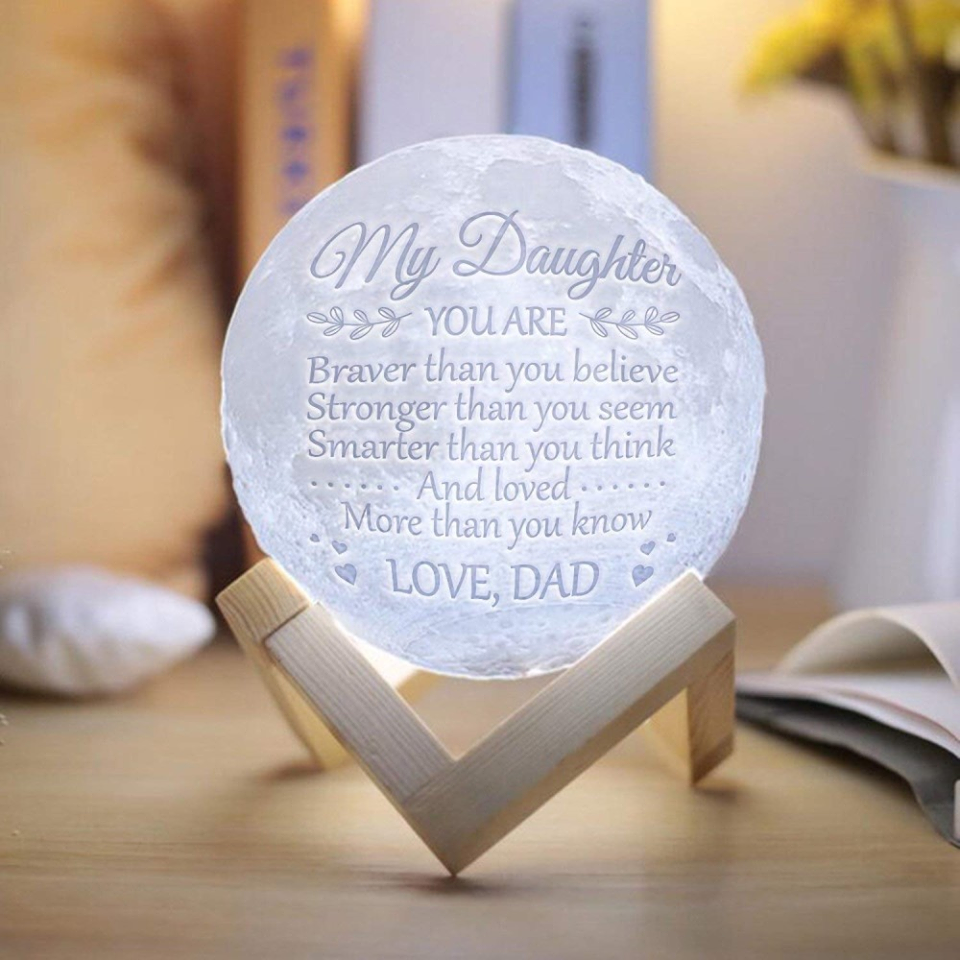 "Personalized Custom 3D Moon Lamp ""Love You To The Moon"""