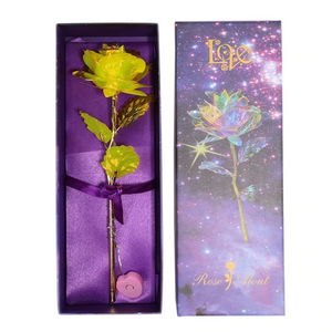 "Upgraded Multicolor 24k ""Galaxy"" Gold Rose ""Love You For Life"" Love Light Up With Display Stand"