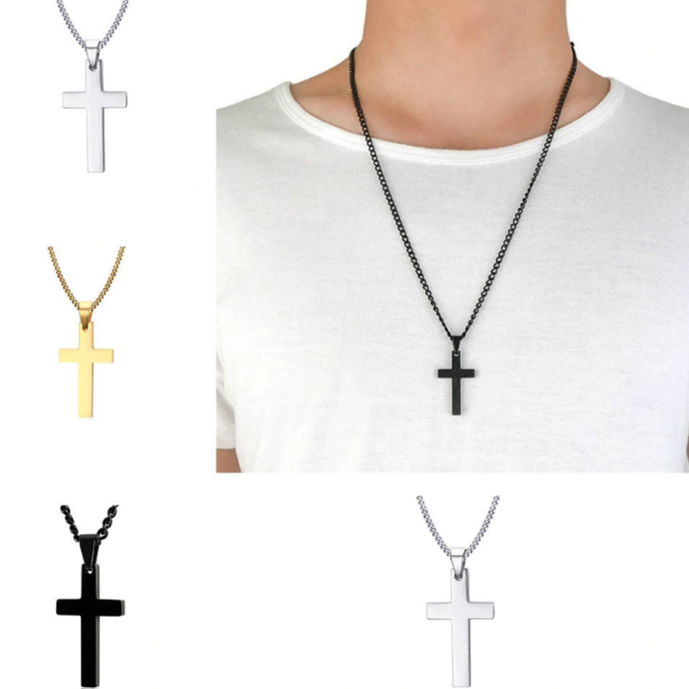Vintage Stainless Steel Cross Necklace