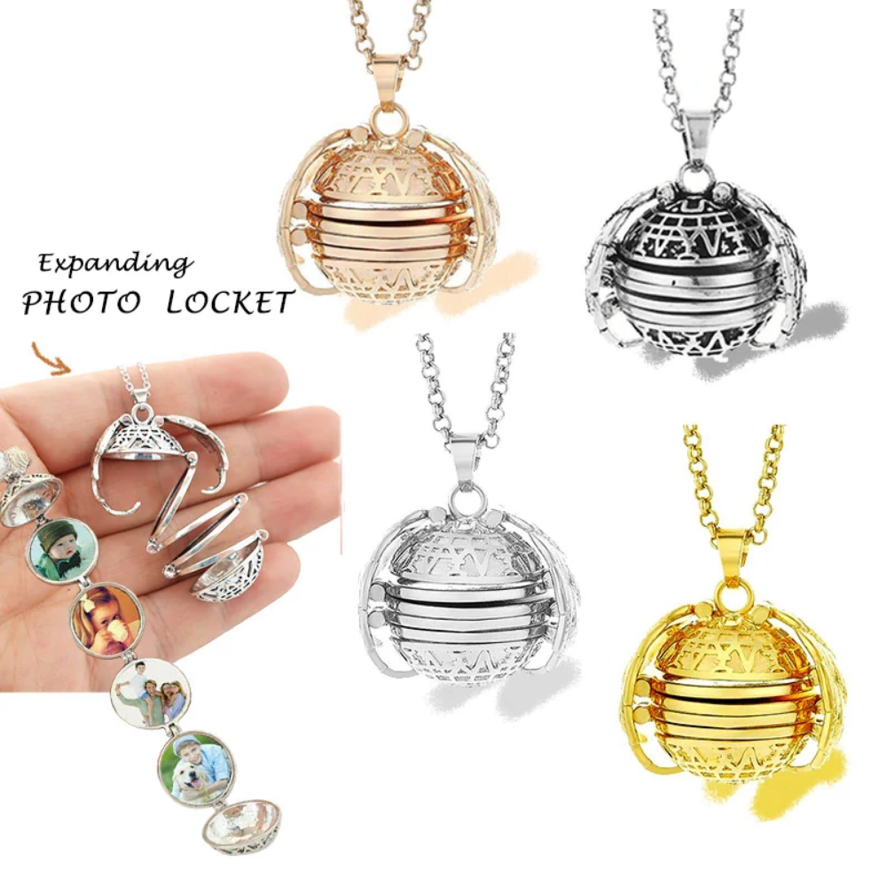 Magic Expanding 4 Photo Angel Wings Locket Necklace