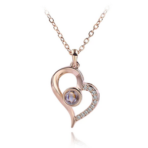 """I Love You"" Forever (Slant Heart) 100 Language Micro Projection Necklace (Gold or Silver)"