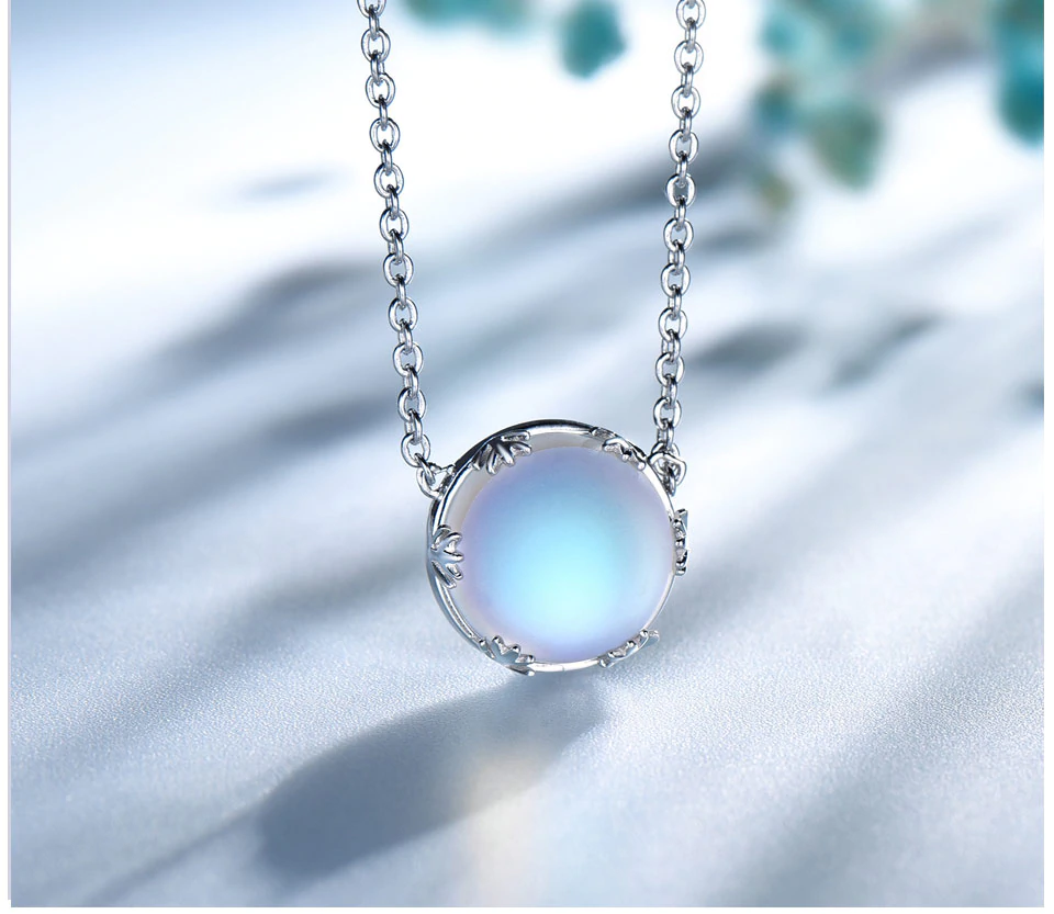 Aurora Borealis Halo Crystal Necklace 925 Sterling Silver (2 Variants)