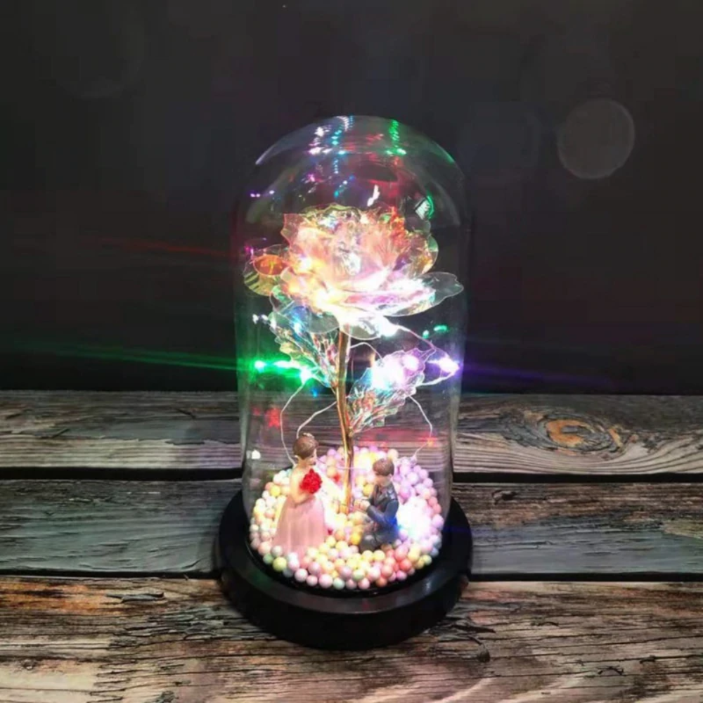 Rainbow Orbs Galaxy Enchanted Rose LED Glass Display (7 Designs)