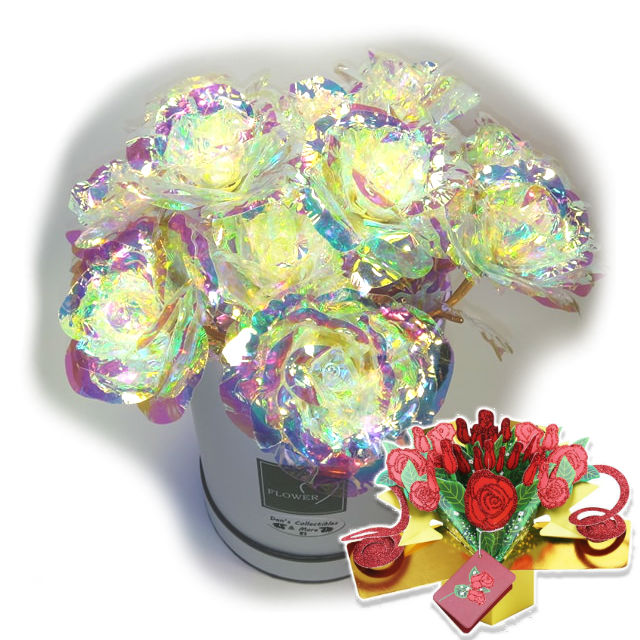 Galaxy Rose One Dozen 12 Flower Arrangement Round Suede Box & 3D Pop Up Gift Card