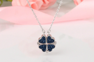 Four 4 Leaf Clover Heart Necklace Sterling Silver with Optional Rose Gift Box