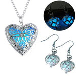 Eternal Heart Bundle Necklace & Earrings Glows In The Dark