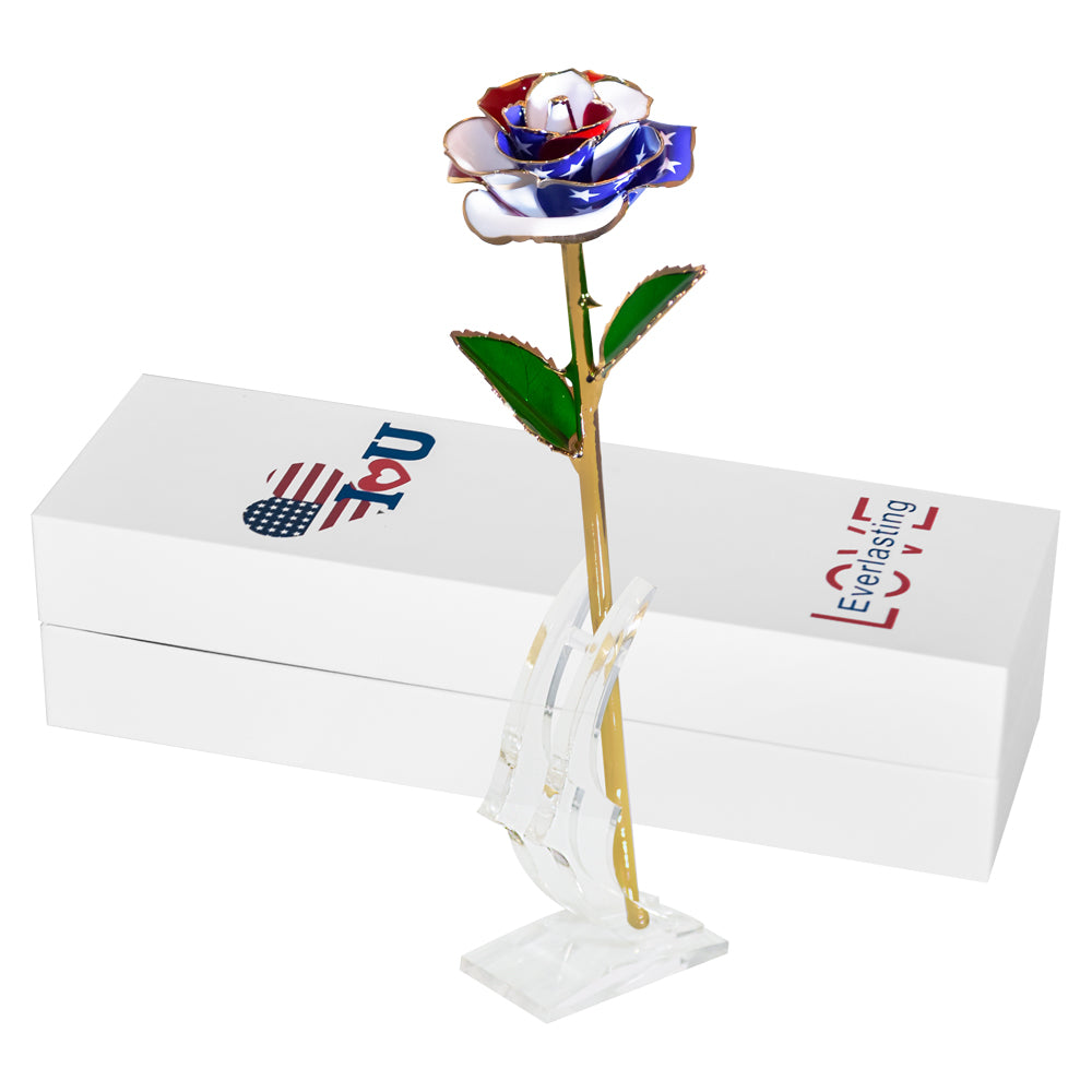 USA American Flag Preserved 24k Gold Long Stem Immortal Rose (16 Colors)