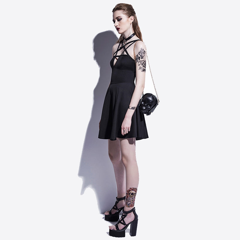 Pentagram Mini Black Party Dress Occult Style