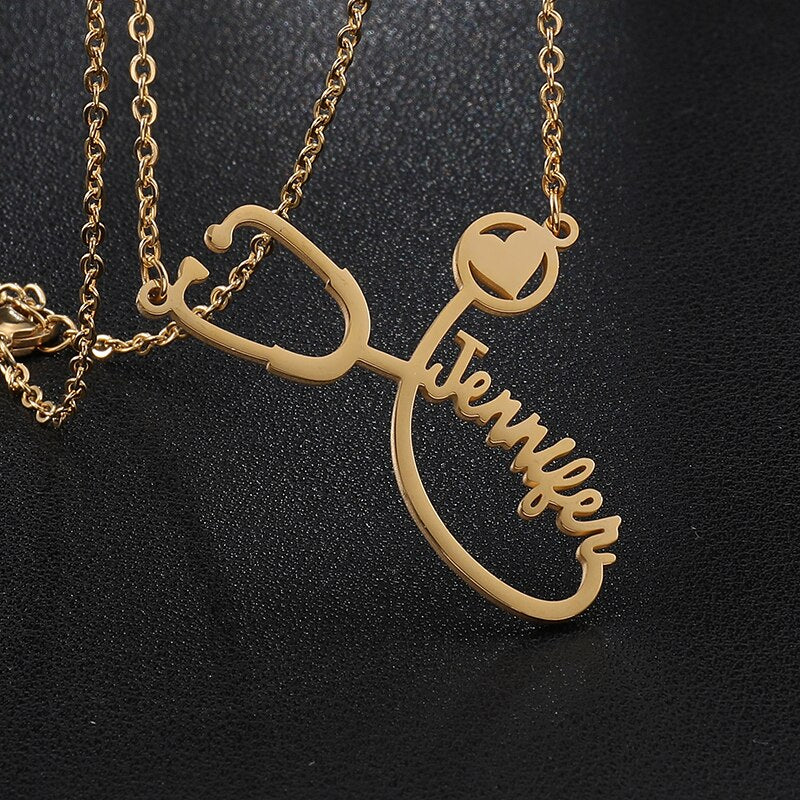 Custom Name Laser Cut Doctor's Stethoscope Necklace (4 Colors)