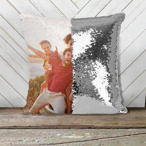 Custom Photo Sequin Pillow Case Personalized Children, Valentines, Pets, Family (8 Colors)