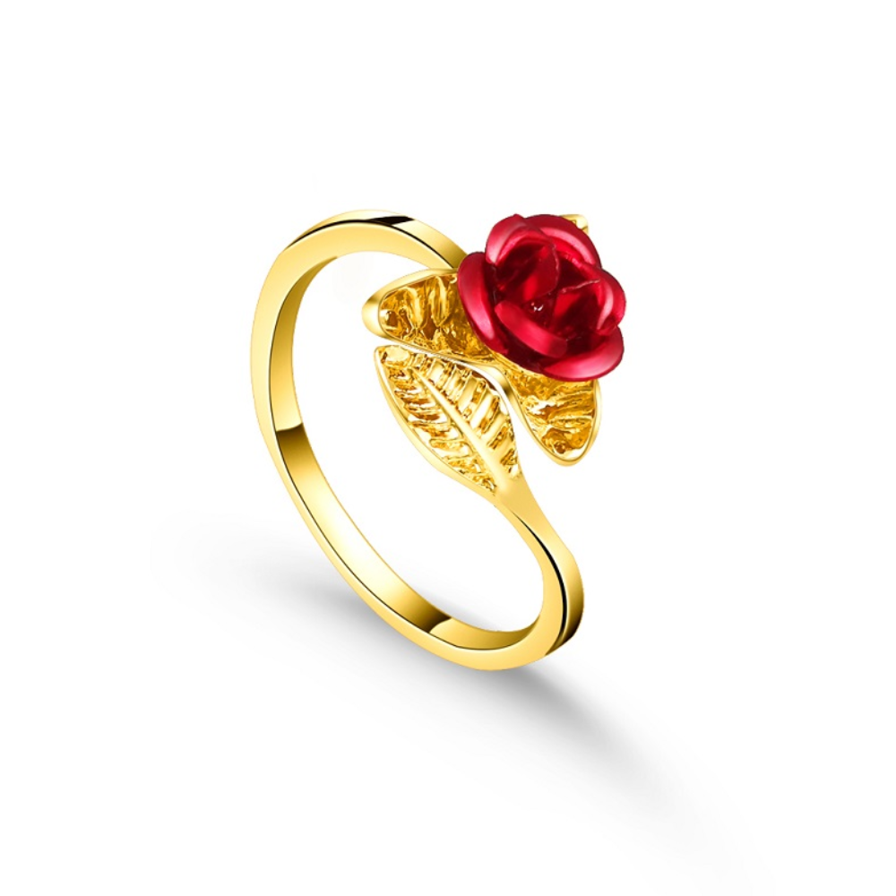 Red Rose Adjustable Ring (3 Finishes)