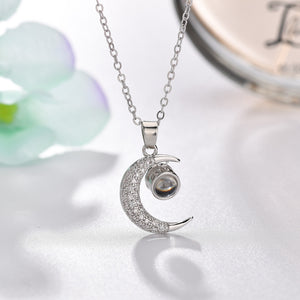 """I Love You"" Forever (Crescent Moon) 100 Language Micro Projection Necklace"