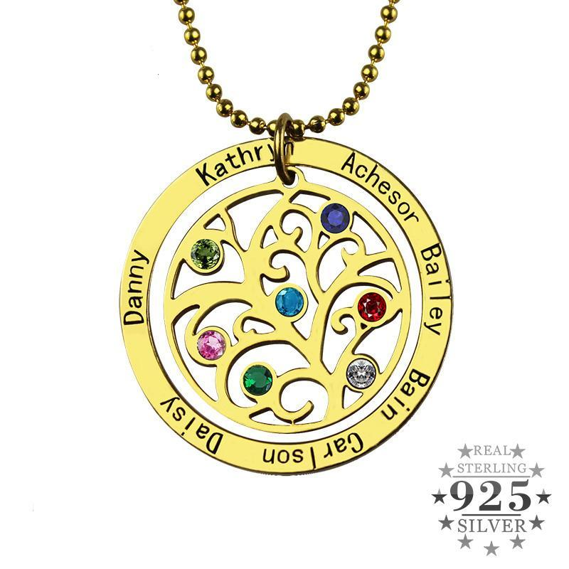 925 Sterling Silver Custom Name Family Tree Necklace With Birthstones (Variant 1)