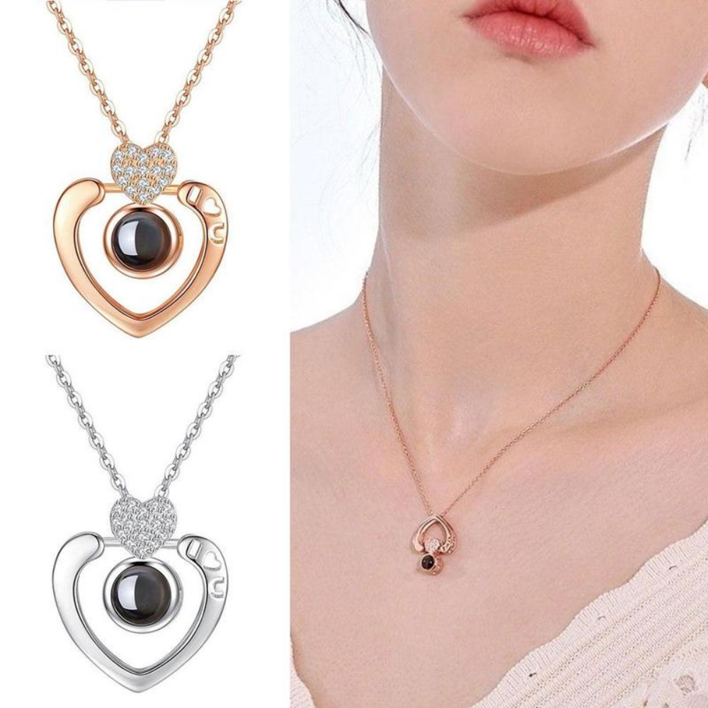 """I Love You"" Forever (Double Heart) 100 Language Micro Projection Necklace"