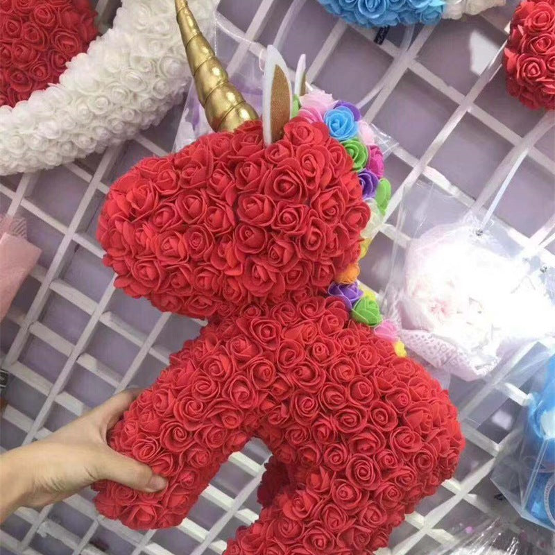 Standing Unicorn Rose Bear Large (5 Colors)