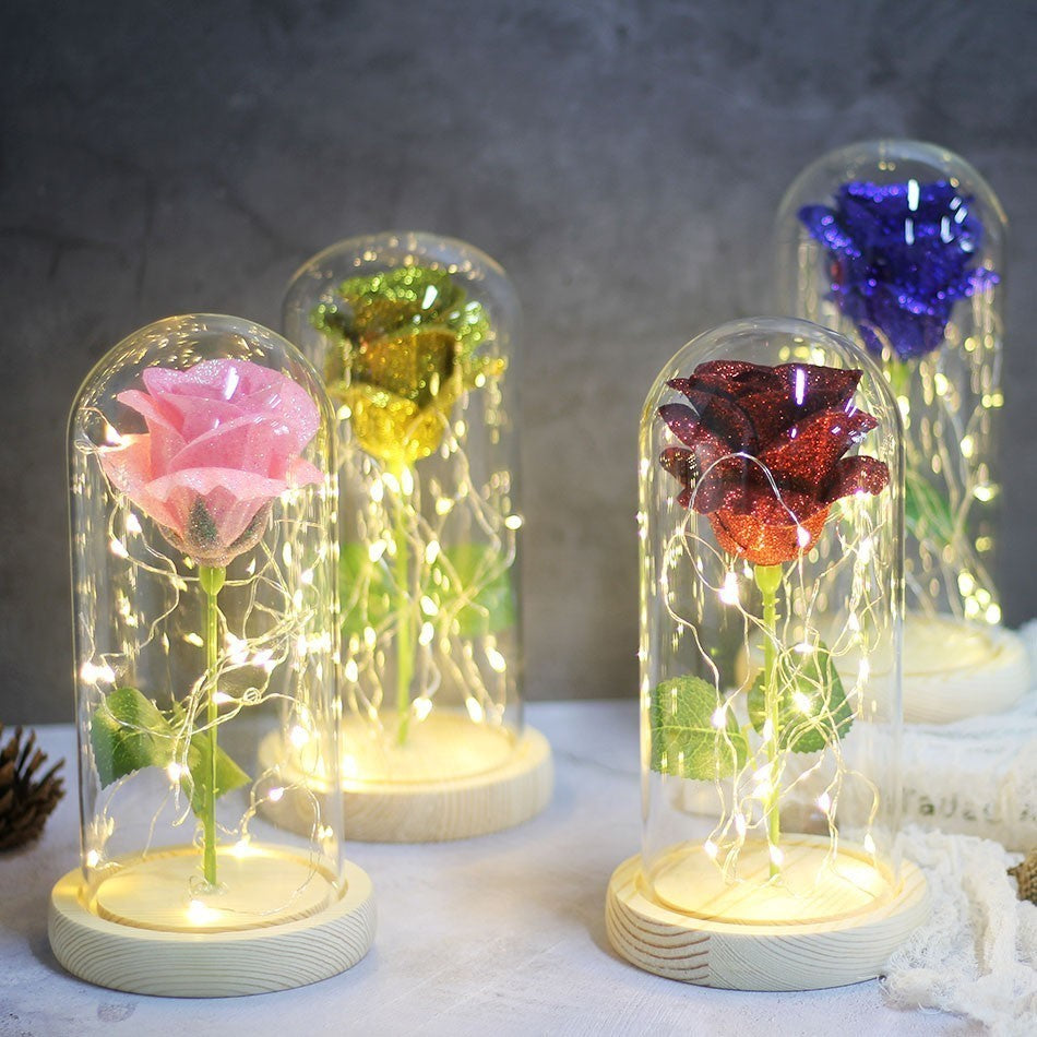 *Back Ordered Until 2/10/20* Shimmering Glitter Enchanted Rose LED Glass Display (10 Variants)