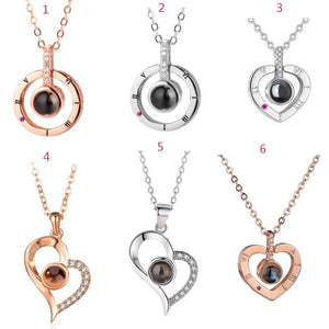 """I Love You"" Forever 100 Language Micro Projection Necklace With Rose"