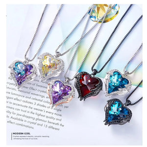 Swarovski® Crystal Angel Heart Pendant Necklace (9 Styles)