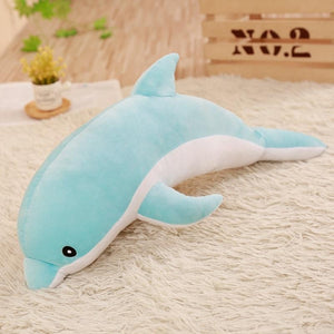 Dolphin Pillow Plush 3D Stuffed Animal (5 Sizes) Pink, Blue or Grey