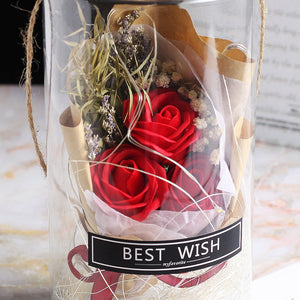 *Back Ordered Until 2/10/20* Mini Mason Jar Bouquet Enchanted Rose LED Display (3 Colors)