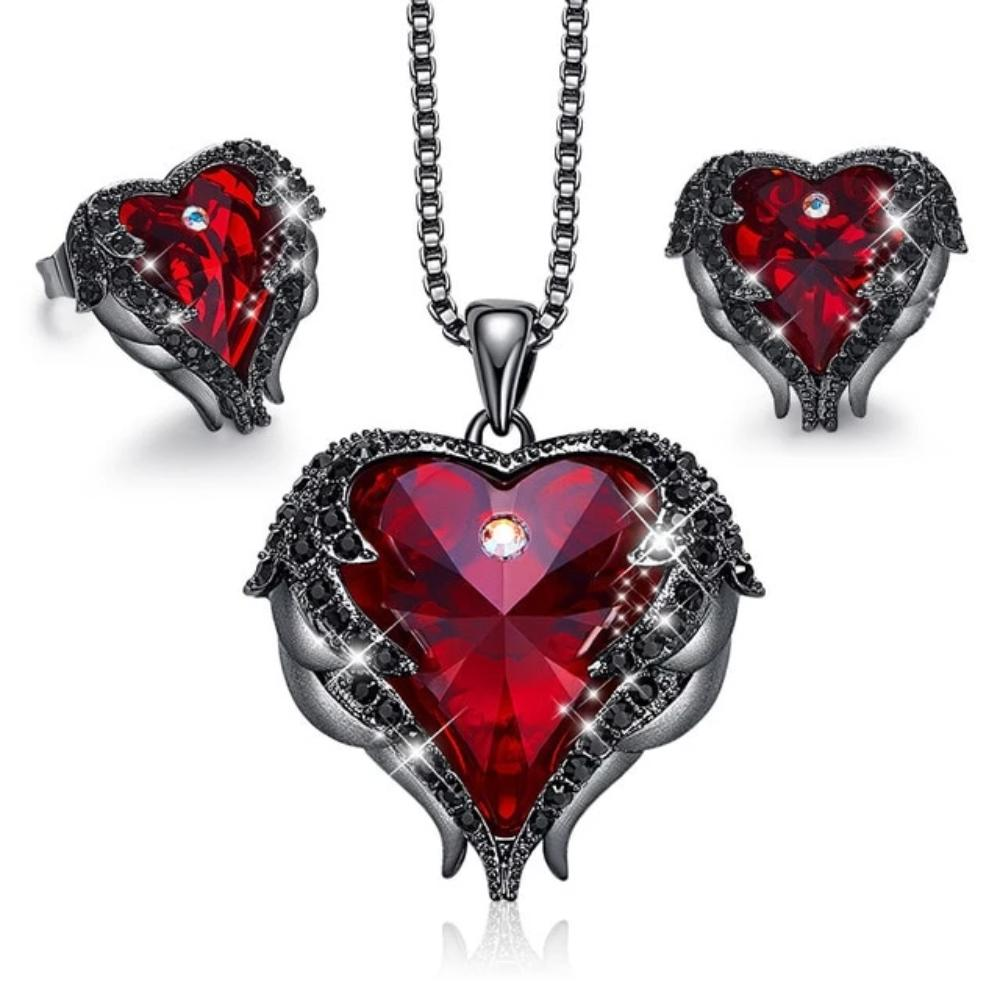 Swarovski® Crystal Angel Heart Pendant Necklace & Earrings Set (5 Styles)